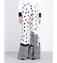 Oscar De La Renta Wide Leg Dot Silk Crepe Chine Trousers Black White