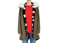 Army By Yves Salomon Women's Reversible Cotton And Star Print Fur Parka Dark Green
