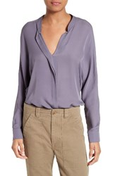 Vince Women's Sheer Silk Blouse Plum