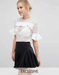 Closet London Lace Blouse With Satin Ruffle Detail White