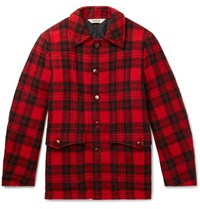 Aspesi Checked Wool Fleece Blouson Jacket Red
