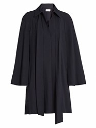 Chloe Point Collar Long Sleeved Cady Shirtdress Navy