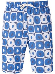 Universal Works Geometric Print Beach Shorts Blue
