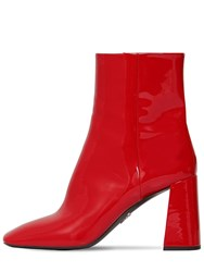 Prada 85Mm Patent Leather Ankle Boots Red