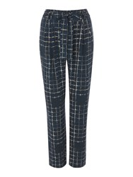 Label Lab Check Tie Waist Trousers Blue
