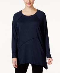 Calvin Klein Performance Plus Size Long Sleeve Asymmetrical Hem Tunic Indigo Heather