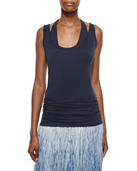 Donna Karan Double Layered Racerback Tank Top Deep Indigo
