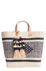 Mar Y Sol 'Ibiza' Woven Tote With Tassel Charms Brown Natural