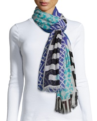 Jonathan Adler Lattice Printed Cashmere Blend Scarf Teal