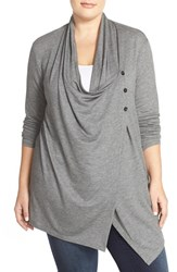Plus Size Women's Sejour Terry Side Button Drape Neck Jacket Grey Bess Pattern