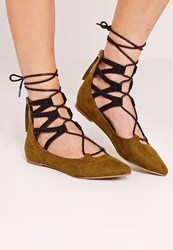 Missguided Ghillie Lace Up Pointed Flat Shoes Khaki Olive