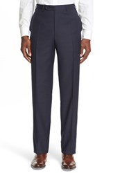 Canali Men's '13000' Regular Fit Flat Front Solid Wool Trousers Navy