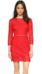 Cynthia Rowley Long Sleeve Lace Dress Red