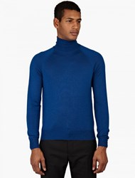 Jil Sander Turquoise Wool And Silk Turtleneck Sweater
