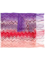 Missoni Zig Zag Crochet Knit Scarf Women Viscose One Size Pink Purple