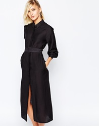 The Laden Showroom X Meekat Maxi Shirt Dress With Belted Waist Black