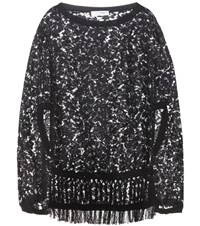 Valentino Cotton Blend Lace Poncho Black
