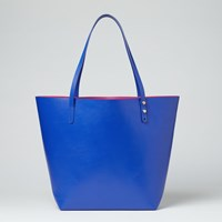 John Lewis Robyn Leather Two Colour Tote Blue Pink