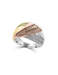 Effy Trio Diamonds 14K White Gold 14 Yellow Gold And 14K Rose Gold Ring Tri Color