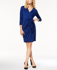 Inc International Concepts Printed Faux Wrap Dress Created For Macy's Blue Dotted Swirl