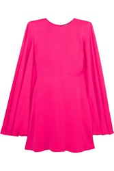 Alexander Mcqueen Cape Back Crepe Mini Dress Fuchsia