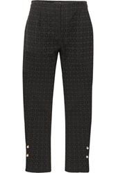Mother Of Pearl Jewell Faux Embellished Broderie Anglaise Cotton Straight Leg Pants Black