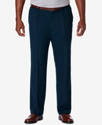 Haggar Men's Big And Tall Cool 18 Pro Classic Fit Stretch Pleated Dress Pants Navy