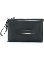 Red Valentino Studded Clutch Women Calf Leather Metal Other One Size Black