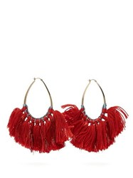Missoni Tasselled Lurex Hoop Earrings Red