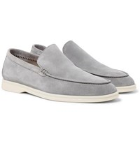 Loro Piana Summer Walk Suede Loafers Light Gray