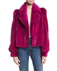 Co Cropped Mink Fur Jacket Fuchsia