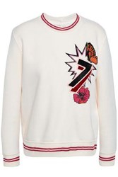Maje Embellished Embroidered Scuba Sweatshirt Cream