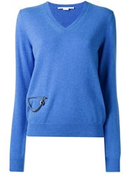 Stella Mccartney V Neck Zip Accent Jumper Blue