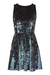 Topshop Petite Low Back Velvet Skater Dress Slate