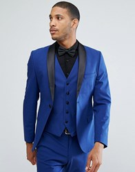 Selected Homme Skinny Tuxedo Suit Jacket With Satin Lapel Blue Depths