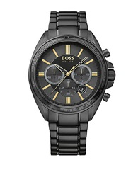 Hugo Boss Blackout Driver Black Ip Stainless Steel Bracelet Chronograph