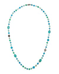 Sheryl Lowe Turquoise Chrysoprase And Opal Bead Necklace With Diamonds