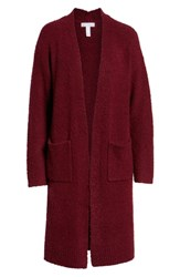 Leith Boucle Long Cardigan Red Grape