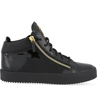Giuseppe Zanotti Mid Top Patent Leather Trainers Black