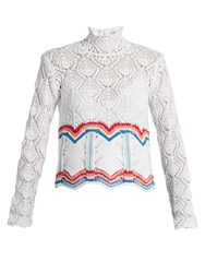 Peter Pilotto High Neck Cotton Blend Crochet Sweater White Multi