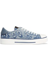 Valentino Appliqued Denim Sneakers Light Denim