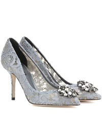 Dolce And Gabbana Bellucci Embellished Lace Pumps Grey