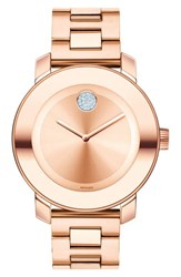 Movado Women's 'Bold' Crystal Marker Bracelet Watch 36Mm Rosegold