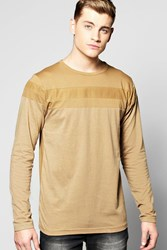 Boohoo Long Sleeve Mesh Panel T Shirt Khaki