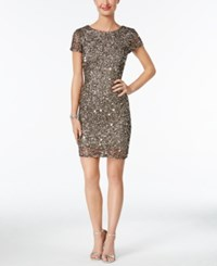 Adrianna Papell Beaded Cap Sleeve Sheath Dress Lead