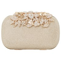 Dune Emberrs Box Clutch Bag Gold
