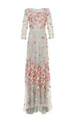Luisa Beccaria Embellished Floral Embroidered Gown