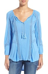 Women's Lucky Brand Lace Trim Peasant Blouse Blue Yonder