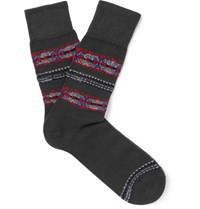 Falke Lhasa Fair Isle Knitted Socks Charcoal