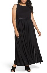 Three Dots Plus Size Women's Gathered Waist Knit Maxi Dress Black